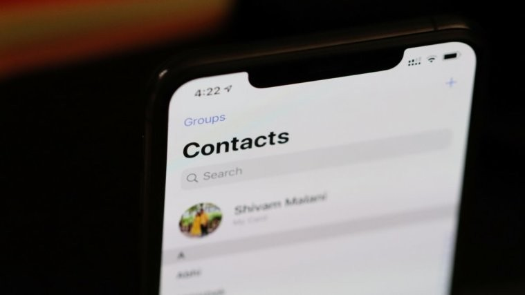 Contacts screen iPhone