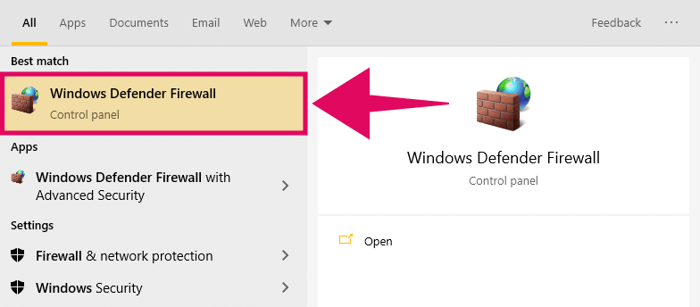 """Search for """"Windows Defender Firewall"""" in Start menu and open it"""