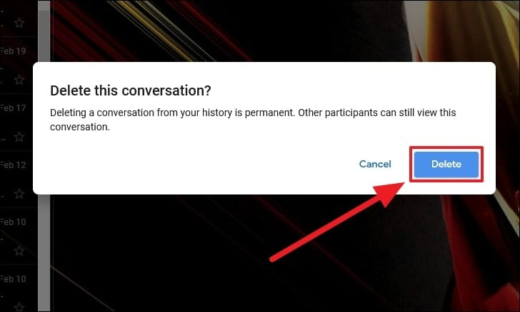 delete a message on google chat