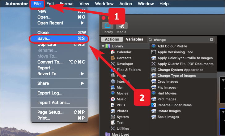 save the workflow to convert HEIC to JPG