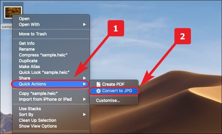 Using quick action to convert HEIC to JPG