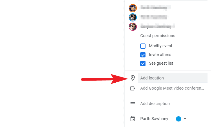 add location to google chat rooms event