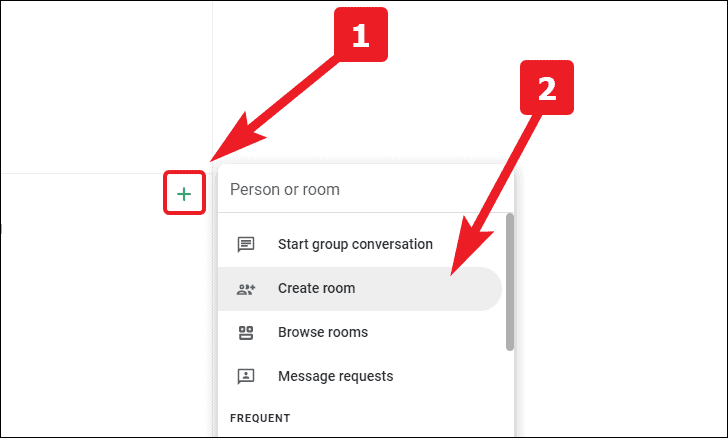 tap on + to create a room in google chat rooms