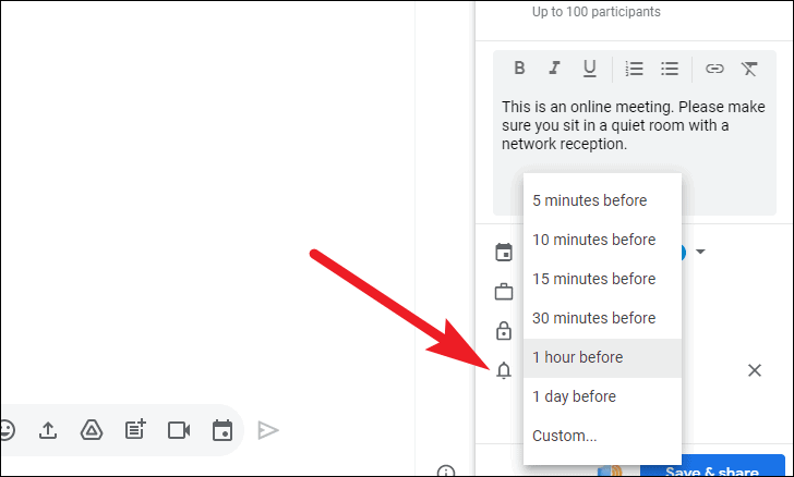 add reminder notification for google rooms event