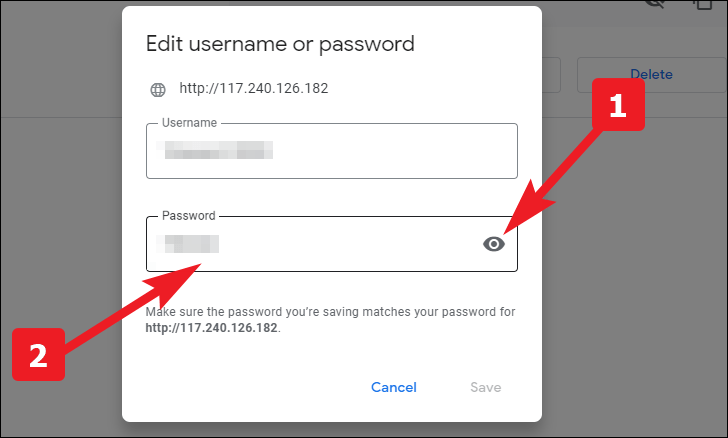 click on the eye icon to view, edit or update the saved passwords