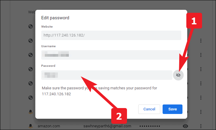 edit or update the saved passwords