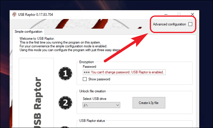 advanced configuration for usb security key