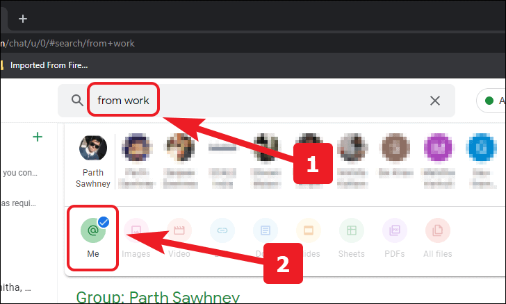 search your mentions in google chat