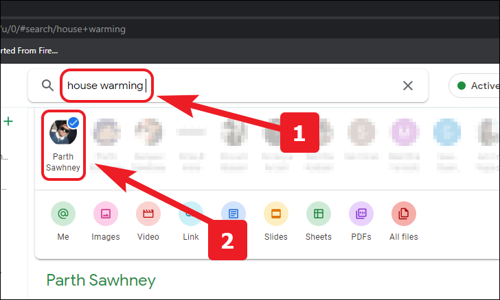 search from your sent messages in google chat