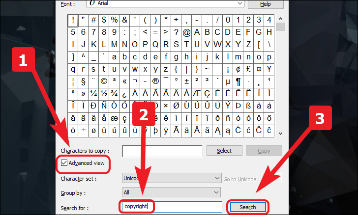 search for copyright symbol in the character map