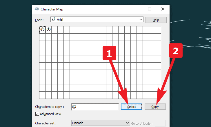 Copy the copyright symbol using character map on windows