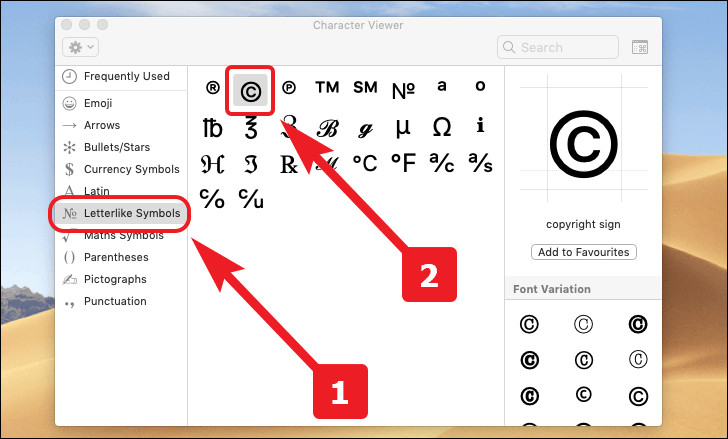 click on the copyright symbol to type the copyright symbol