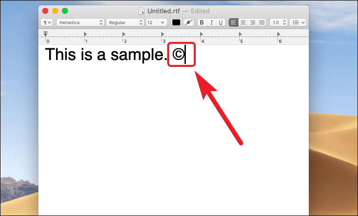 type the copyright symbol using the in built shortcut for mac
