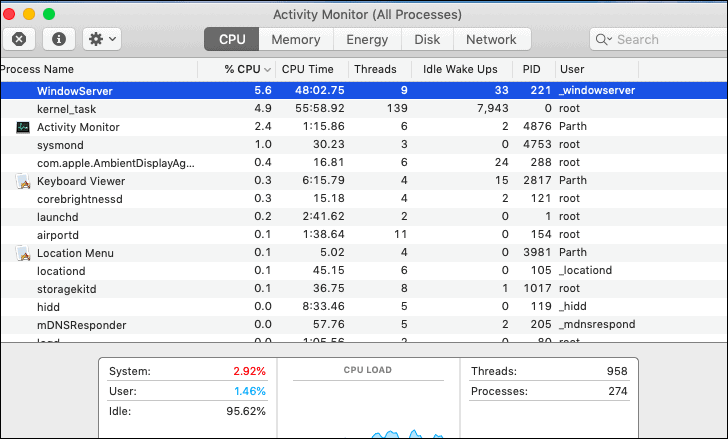 WindowServer process in activity monitor