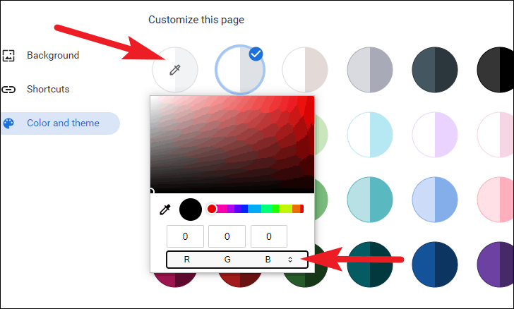 use color picker to customize color in new tab background