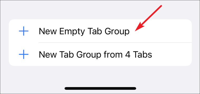 click new empty tab group to create new group in safari
