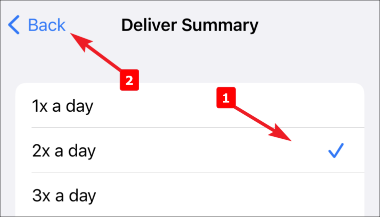 choose frequency for notification summary on iPhone