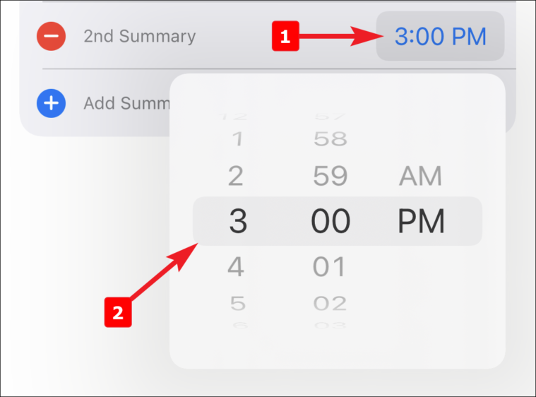 set time for more than one notification summary