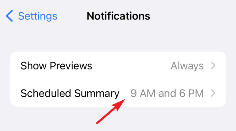 tap on the scheduled summary to customize notification summary on iPhone
