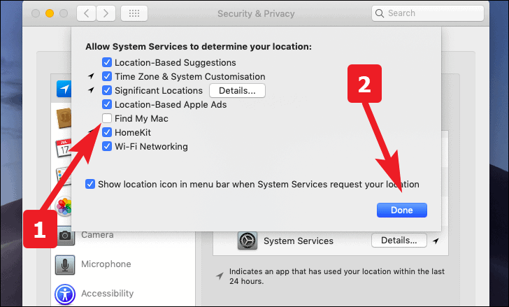 click to enable or disable location services for Find my services