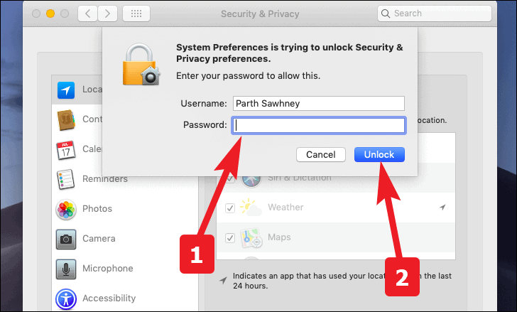 enter password and unlock to enable or disable location history