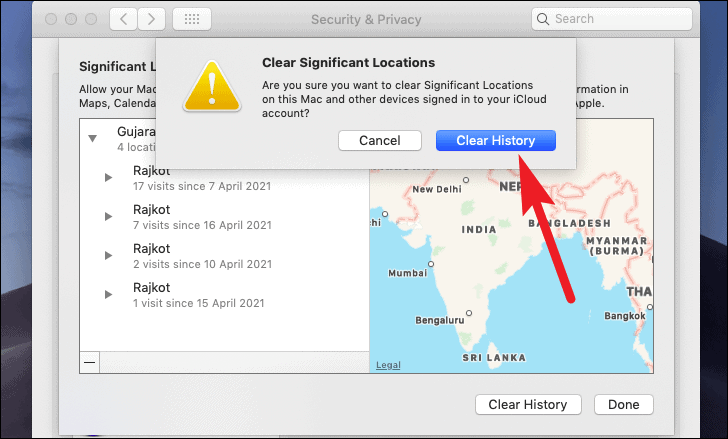 click to clear history from system location serrvices