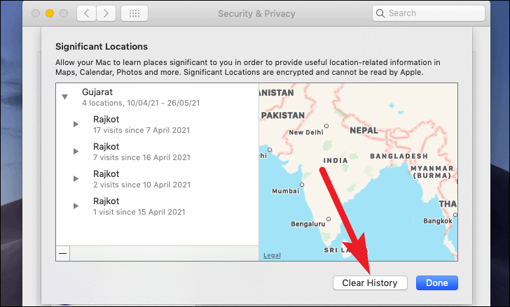 clear history from system location services
