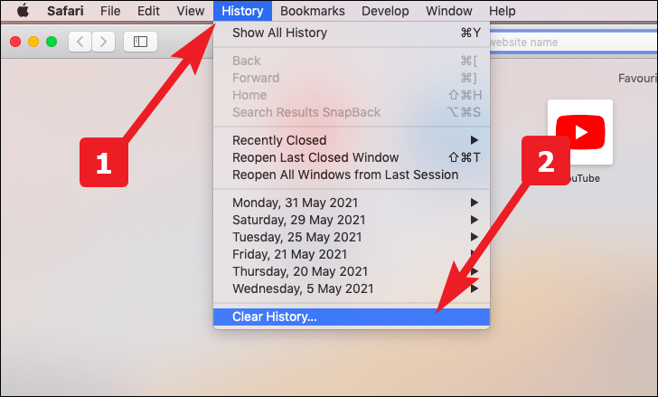 click to clear history to reset safari to default settings