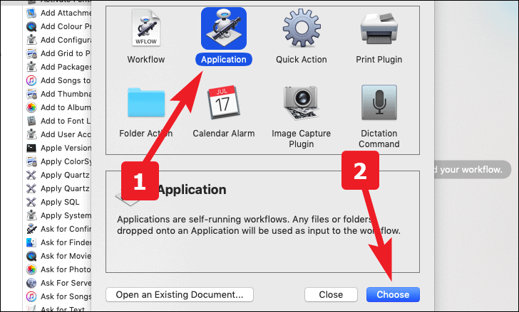 select application to create an app