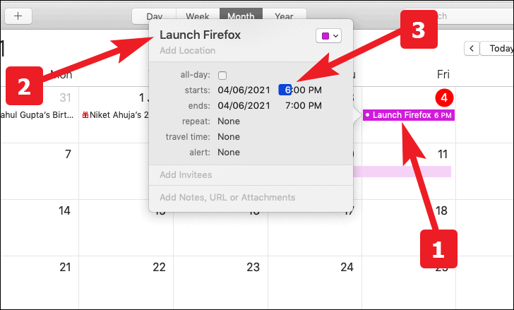 set date and time to specific launch and close the application