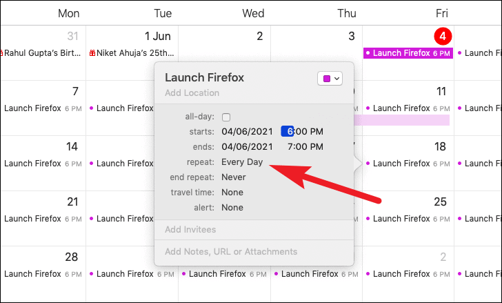 select recurrence to schedule launch and close the application