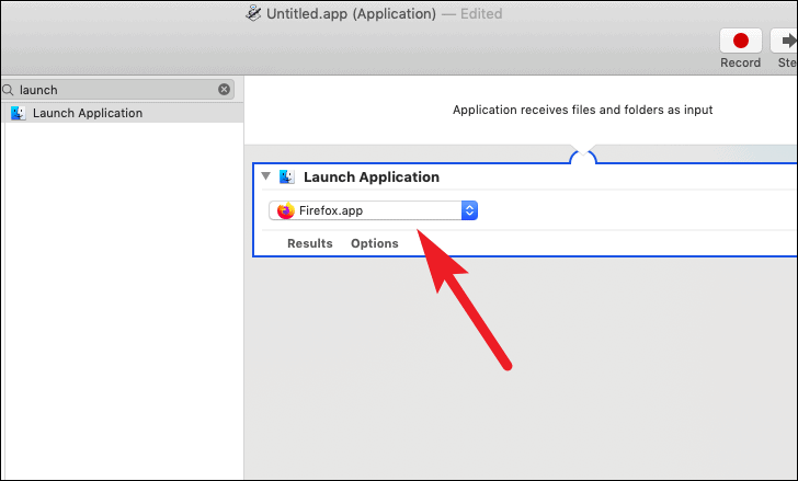 select application to schedule launch application