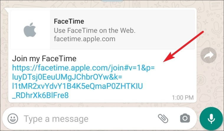 click on the facetime link on android