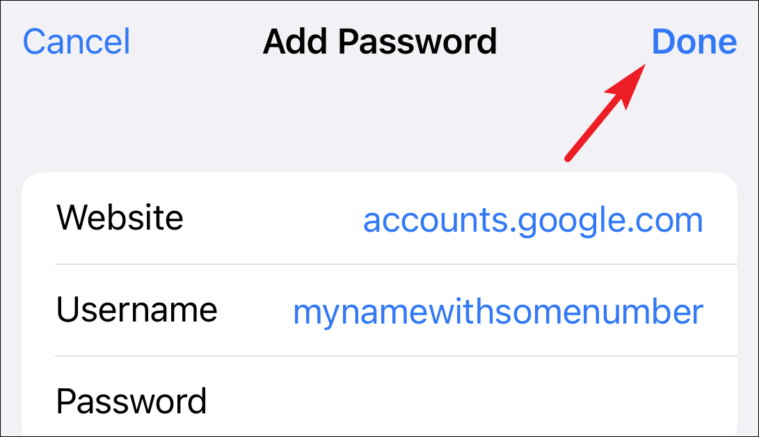 tap done to save passwords from iCloud keychain from iPhone