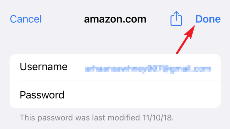 tap done to save password from iCloud keychain from iPhone