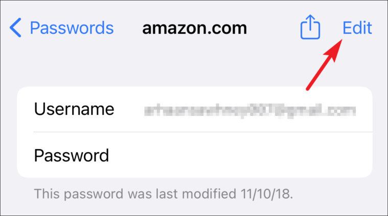 tap edit to change saved password from iCloud keychain from iPhone
