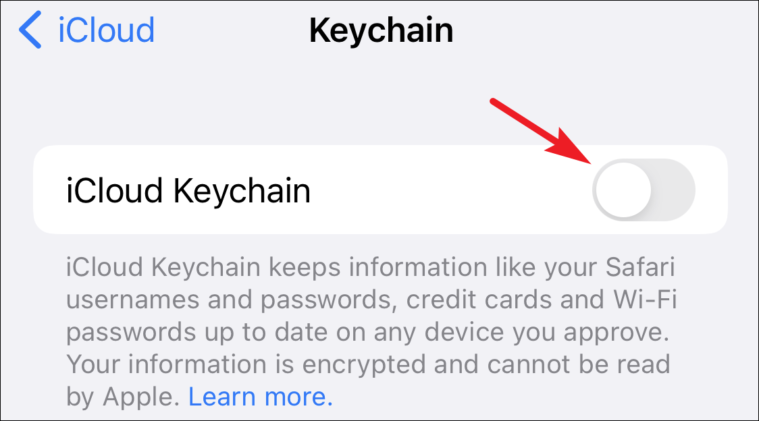 enable iCloud keychain from iPhone